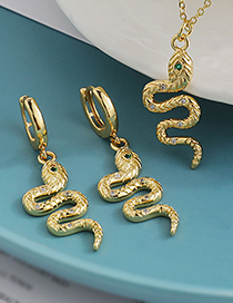 Fashion Gold Color Copper Inlaid Zircon Snake Necklace