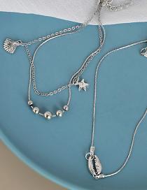 Fashion Silver White Alloy Double Shell Starfish 3 Bracelet