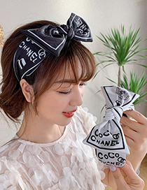Fashion Black Knotted Print Bowknot Fabric Flower Print Wide-brimmed Headband Hair Rope