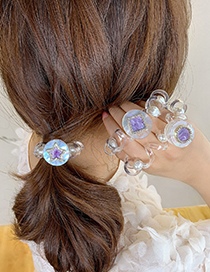 Fashion Star Amethyst Diamond-studded Five-pointed Star Round Telephone Cord Hair Ring