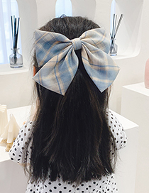 Fashion Pink Plaid Bow Check Fabric Alloy Childrens Big Bow Hairpin