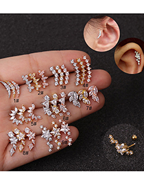 Fashion Moon Silver Stainless Steel Five-pointed Star Geometric Zircon Screw Copper Gold-plated Earrings