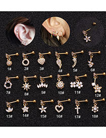 Fashion Round Silver Micro-inlaid Zircon Stainless Steel And Gold-plated Geometric Earrings