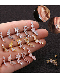 Fashion Sector Silver Screw Thin Rod Five-pointed Star Micro-inlaid Zircon Stainless Steel Geometric Earrings