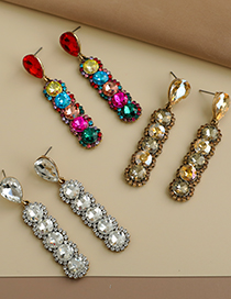 Fashion Color Alloy Diamond Earrings With Round Diamonds