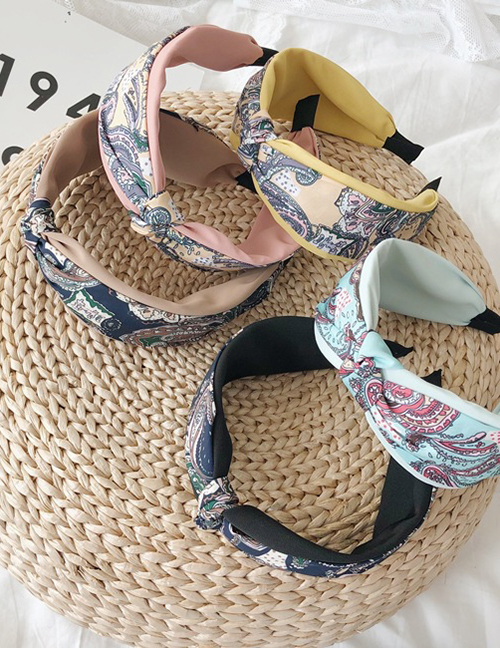 Fashion Yellow Floral Knotted Printed Wide-brimmed Headband