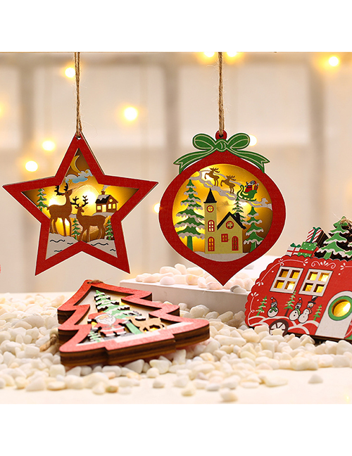 Fashion Peach Heart Wooden Five-pointed Star Elk Luminous Christmas Tree Pendant With Battery
