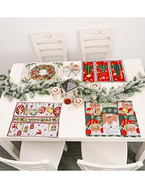 Fashion Wreath Santa Claus Elk Garland Knitted Cloth Placemat