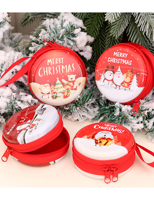 Fashion Bear Santa Print Round Christmas Coin Purse
