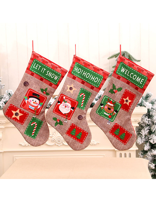 Fashion Deer Linen Alphabet Print Embroidered Christmas Socks