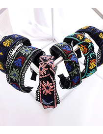 Fashion Navy Blue+yellow Embroidery Knotted Headband Embroidered Flower Lace Hollow Headband