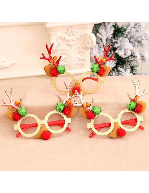 Fashion Bronze Antlers Christmas Gift Glasses Decoration