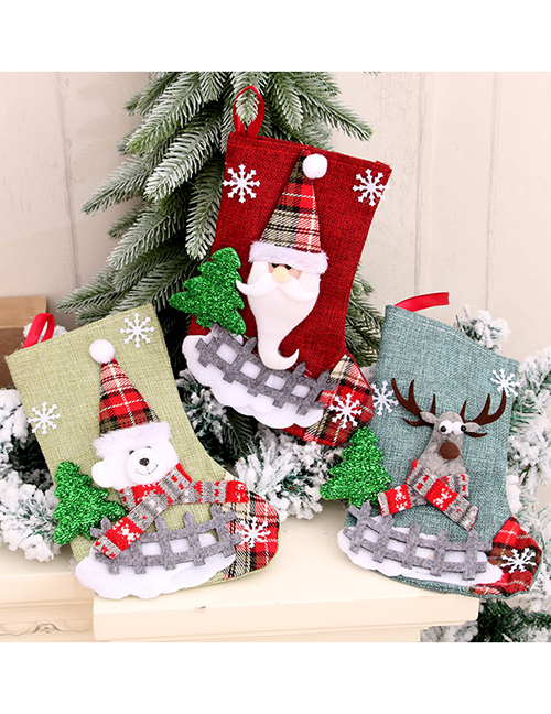Fashion Bear Burlap Medium Santas Elk Christmas Stocking