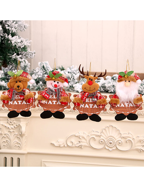 Fashion Bear Wooden Brand Bells Elderly Elk Christmas Tree Pendant