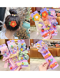 Fashion Pink Net Yarn Bow [5 Piece Set] Bowknot Flower Resin Fabric Alloy Childrens Hairpin Set
