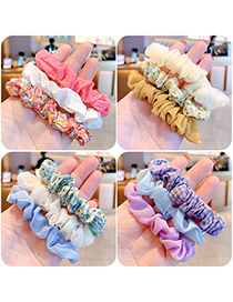 Fashion Pink Series [3 Roots] Flower Printed Fabric Childrens Large Intestine Ring Hair Rope