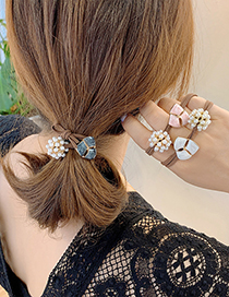 Fashion White Petal Hair Rope Three Petals Oil Drop Pearl Alloy Knotted Hair Rope