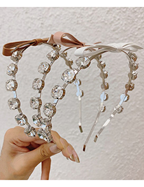 Fashion Pink Crystal Bow Thin Edge Alloy Headband