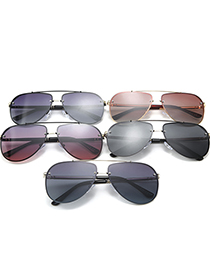 Fashion Black Frame Gradient Gray Polarized Gradient Alloy Mens Sunglasses