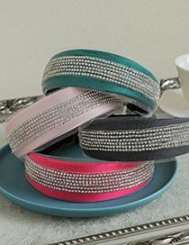 Fashion Pink Fabric Diamond-studded Mesh Headband