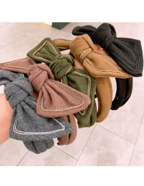 Fashion Coffee Color Cashmere Woolen Bow Wide-brimmed Headband