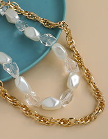 Fashion Golden Alloy Chain Geometric Pearl Resin Double Necklace