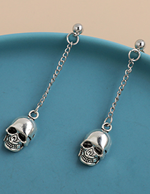 Fashion Silver Alloy Chain Skull Earrings