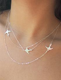 Fashion Gold Color Little Swallow Pendant Alloy Necklace