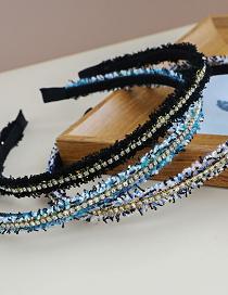 Fashion Blue Fabric Diamond Tassel Headband