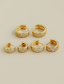 Fashion Gold Color Tuba Copper Inlaid Zircon Large Round Earrings