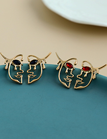Fashion Ab Color Alloy Diamond Half Face Stud Earrings