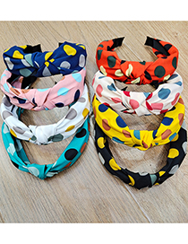 Fashion Blue Contrasting Polka-dot Wide-sided Knotted Headband