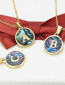 Fashion A Gold Color Stainless Steel Round Letter Abalone Necklace