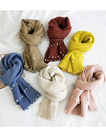 Fashion Meter Double-row Nail Pearl Knitted Wool Scarf