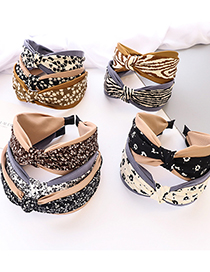 Fashion Coffee Color Bottom + Light Coffee-white Floral Cloth Middle Knot Hair Band Small Floral Fabric Knotted Wide Brim Headband