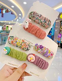 Fashion Little White Rabbit Hairpin [2 Piece Set] Fabric Pleats Zou Floral Resin Alloy Children Hairpin