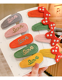Fashion Carrot-blue Fruit Alphabet Bowknot Rabbit Ears Knitted Childrens Hairpin