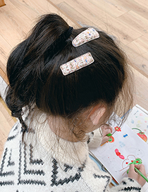 Fashion Blue Hairpin [2 Piece Set] Knitted Woolen Yarn Hitting Color Geometric Childrens Hairpin