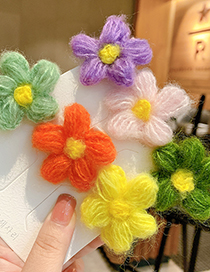 Fashion Pink Flowers Wool Flower Knitted Hit Color Childrens Hairpin