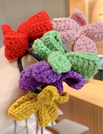 Fashion Red Knitted Childrens Hair Rope With Woolen Bow