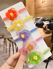Fashion Flower Hair Rope [orange] Knotted Childrens Hair Rope With Flower Woolen Yarn