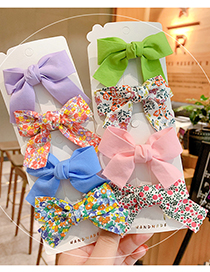 Fashion Pink Bow [2 Piece Set] Small Floral Bow Children Hairpin
