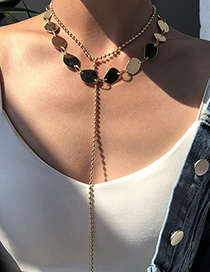 Fashion Gold Color Alloy Double-layer Sequin Y Necklace