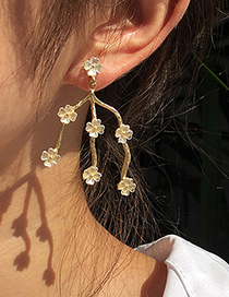 Fashion Gold Color Alloy Flower Branch Earrings