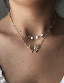 Fashion Gold Color Alloy Double Pearl Butterfly Necklace