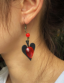 Fashion Red Christmas Alloy Resin Love Earrings