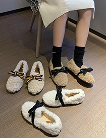Fashion Apricot Lambs Wool Flat And Velvet Bow Shoes
