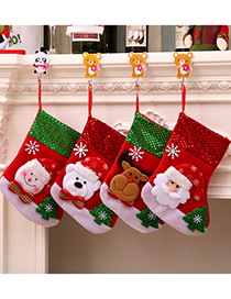Fashion Medium Bear Three-dimensional Stitching Contrast Christmas Elk Christmas Socks