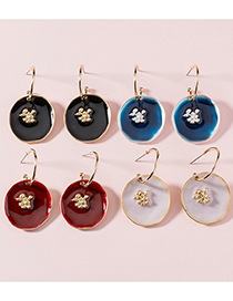 Fashion Red Paint Round Pendant Oil Drop Alloy Earrings