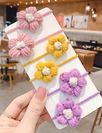 Fashion 1 Pair Of Purple Flowers Knitted Flower Contrast Color Children S Hair Rope